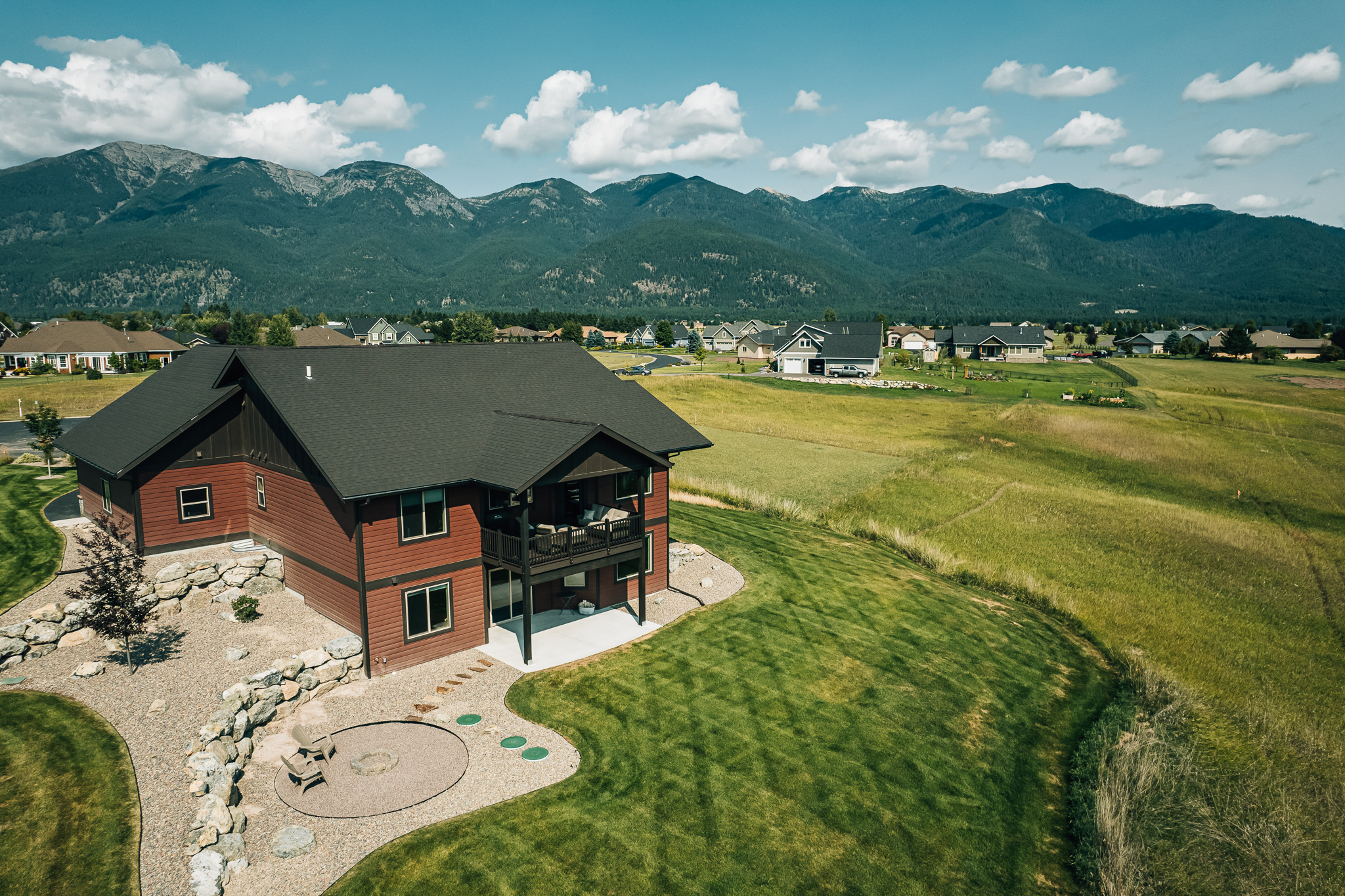 Kalispell Home Aerial Photo Mountains